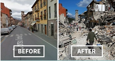 earthquake - before and after