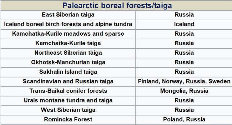 Taiga ecoregions