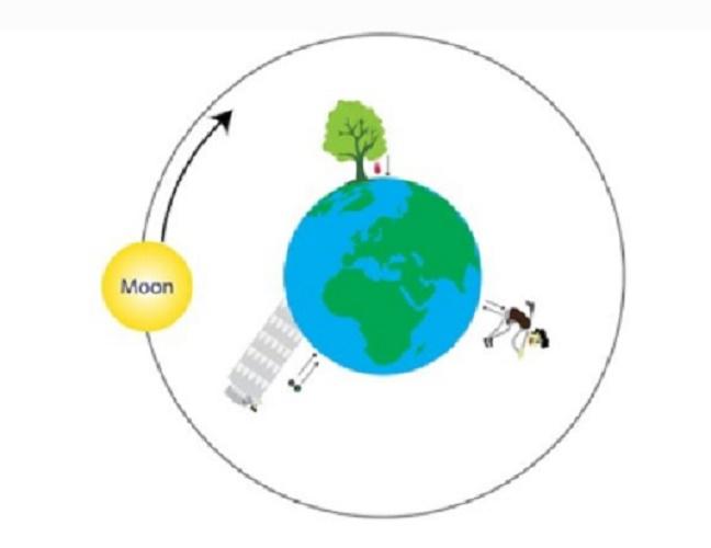 Newton's first law physics inertia gravity moon