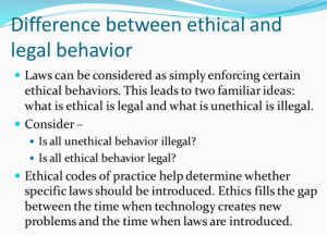 Difference between legal and ethical