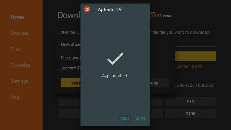 Aptoide TV APK Installation