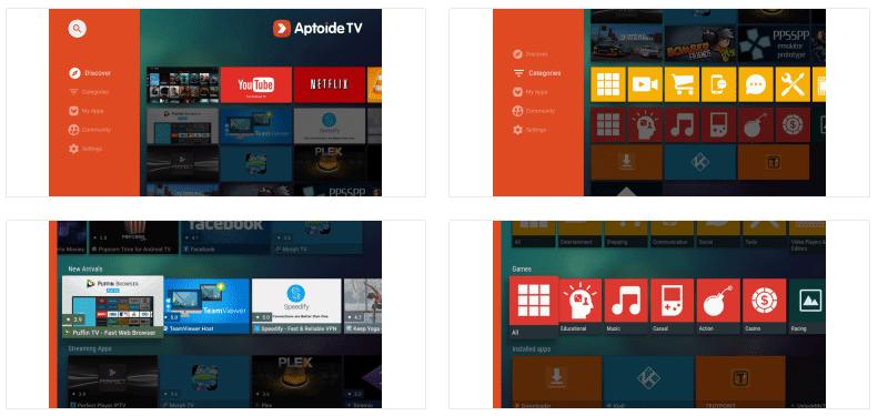 Aptoide TV User Interface Screenshots